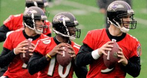 Boller, Smith and Flacco battle for the Ravens QB job.