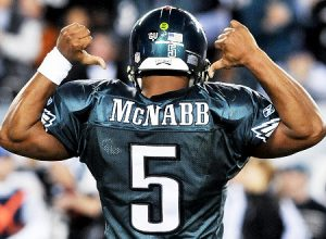 Donovan McNabb Celebrating in Philadelphia Eagles Jersey